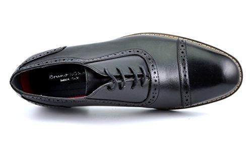 Paires De Rêve Bruno Marc Moda Italy Prince Mens Classique Moderne Oxford Wingtip Dentelle Robe Chaussures Prince-5-noir