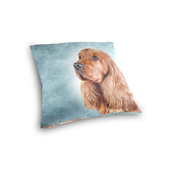 Cooper girl English Cocker Spaniel Portrait Throw Pillow Cover Pillowcase Cotton Cushion Cover 20x20 Inch for Couch Bed Sofa 3