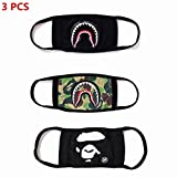 NF orange 3 Pack Bape Bathing Ape AAPE Shark Black Camouflage Mouth Face Mask Cotton Mouth-Muffle