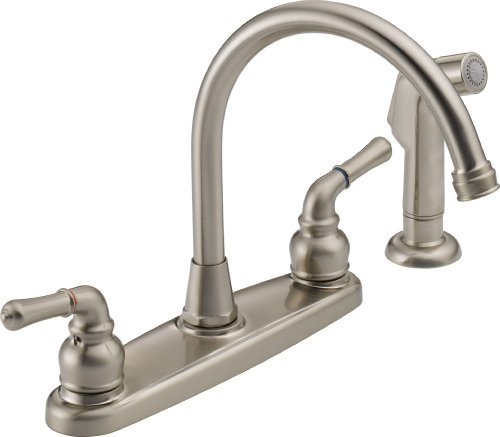 Peerless WAS01XNS Two Handle Kitchen Faucet and Sidespray - Satin (Spray Satin Nickel Kitchen)