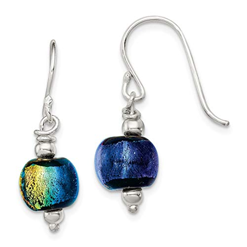 - 925 Sterling Silver Dichroic Glass Bead Drop Dangle Chandelier Earrings Fine Jewelry Gifts For Women - Valentines Day Gifts For Her