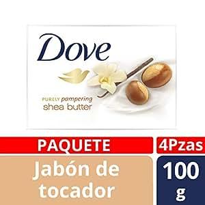 Dove Jabón de Tocador Purely Pampering Shea Butter, 100 g, 4 Piezas