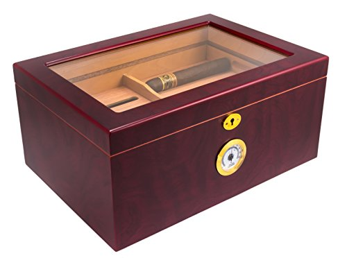 Mantello 100 Cigar Desktop Humidor Glass Top