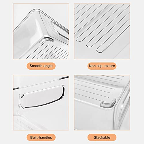 3 Sizes Pack of 9 Stackable Clear Food Storage Bins for Refrigerator, Kitchen Countertop, Pantry Organizer, Plastic Storage Bins with Handles for Spice, Snacks- Not Safe in Dishwasher
