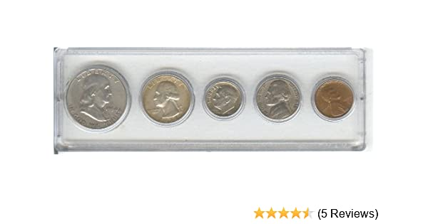 AND CENT--ALL DATED 1954 AND DISPLAYED IN A PLASTIC HOLDER- THESE COINS WILL BE AS GOOD OR BETTER THEN THE PICTURE- NOTHING LESS 1954 BIRTH YEAR COIN SET SILVER DIME TOTAL 5 COINS- SILVER HALF DOLLAR NICKEL SILVER QUARTER