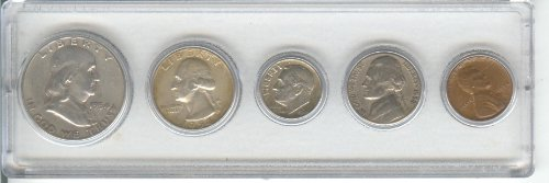 1954 BIRTH YEAR COIN SET, TOTAL 5 COINS- SILVER HALF DOLLAR, SILVER QUARTER, SILVER DIME, NICKEL, AND CENT--ALL DATED 1954 AND DISPLAYED IN A PLASTIC HOLDER- THESE COINS WILL BE AS GOOD OR BETTER THEN THE PICTURE- NOTHING LESS
