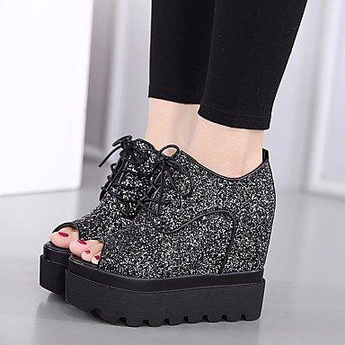 Las mujeres sandalias de Primavera Club Confort zapatos casual PU Plata Negro Black