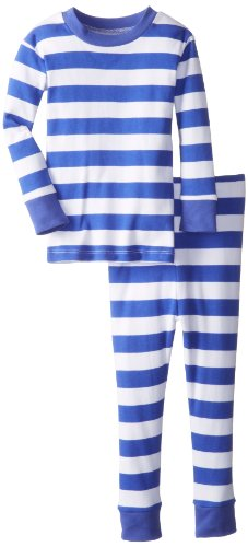 New Jammies Little Boys' Classic Stripes Organic Pajamas, Blue/White, 5