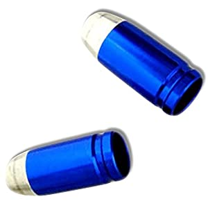 "(2 Count) ""Rounded Bullets Easy Grip Design"" Valve Stem Dust Cap Seal Made of Genuine Anodized Aluminum Metal {Blue and Silver Colors Hard Metal Internal Threads for Easy Application Rust Proof}"