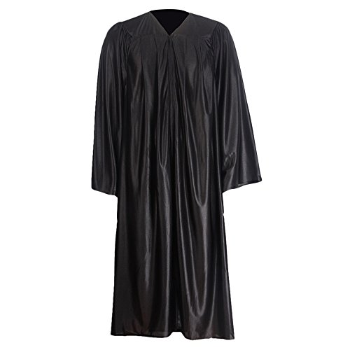 GraduationMall Unisex Economy Shiny Graduation Gown Only Black XX-Small 39(4'6