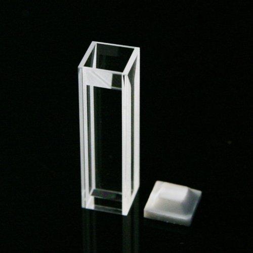 Micro Fluorescence Quartz Cuvette Open top type with PTFE cover, 10 mm light path, 0.7 ml volume,light width 2mm, 4 transparent windows