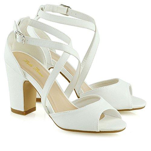 Sintetica Bianco Pelle Festa Blocco Essex Strappy Donna Tacco Basso Medio Sandalo Matrimonio Glam A awOqPFpw