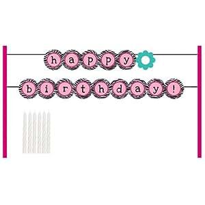 Cake Banner Decoration Kit, Pink Zebra Boutique