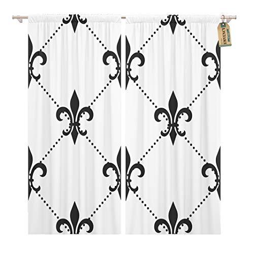 Golee Window Curtain Golden Fleur De Lis Black White Floral Elegant Royal Home Decor Rod Pocket Drapes 2 Panels Curtain 104 x 63 inches