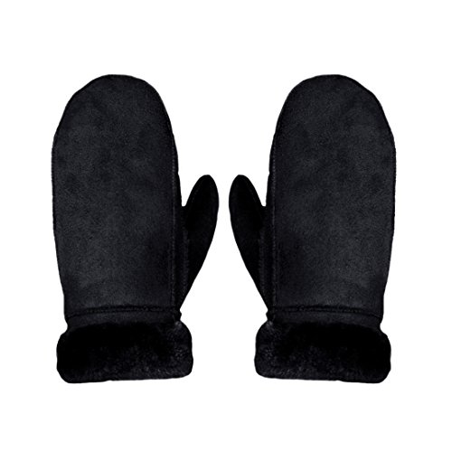 LABANCA Winter Warm Mitten Faux Suede Mittens Gloves for Outdoor Skiing Riding ()