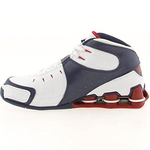 Nike Big Kids Shox VC V (white / varsity red / midnight navy)-7.0