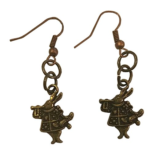 [White Rabbit Alice in Wonderland Bronze Toned Dangle Earrings] (Storybook Fairytale Costumes)