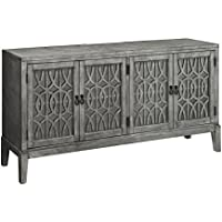 Treasure Trove 17243 Four Door Credenza, Grey