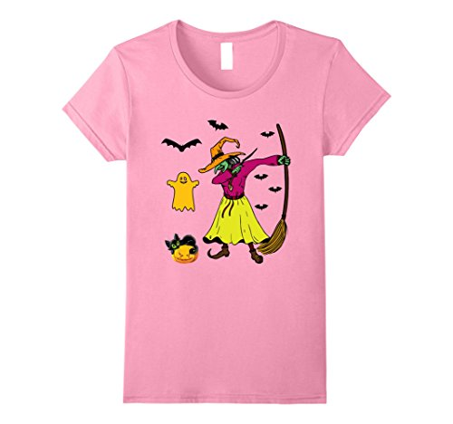 Female Mashup Costumes (Womens Dabbing Witch Cat boo Dab Halloween Trick or Treat Shirt Large Pink)