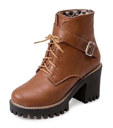 AmoonyFashion Womens Lace-Up High-Heels PU Solid Low-Top Boots Brown nd3seuS43