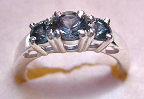 - Montana Sapphire 3 Stone Past Present Future Ring with heart cut outs Sterling Silver