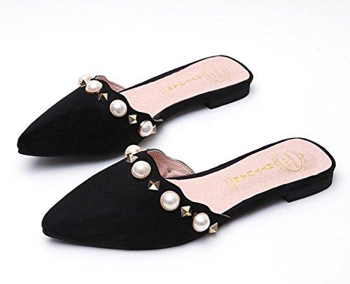 Sandali primavera-estate laccio dietro Comfort PU esterna casuale tacco grosso delle donne YCMDM perla di cristallo Walking , black , us6.5-7 / eu37 / uk4.5-5 / cn37