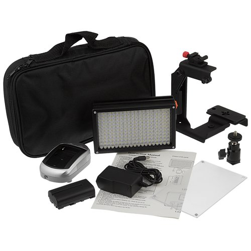 Fotodiox Pro LED 209AS w/ Video Lighting Bracket, Video LED Light Kit, with Dimmable Switch, Daylight / Tungsten Switch 1x Sony type Battery, Battery Charger, Removable Diffuser, and Lighting Bracket, (Pentax Switch)