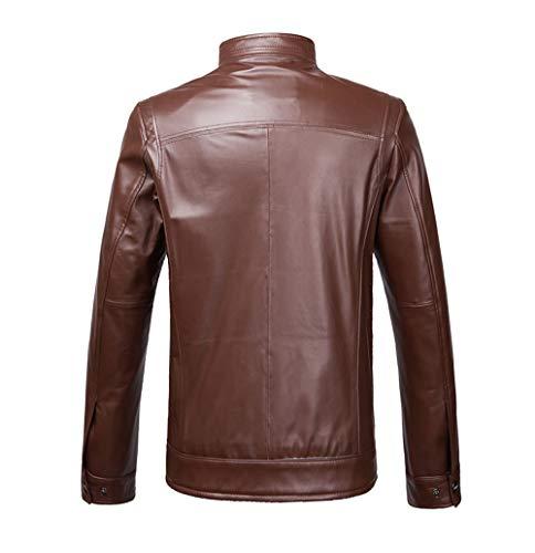 Abrigo Chaqueta Sola Oveja Los xxxxl De Hombres Marrón Pie Cuero Piel Collar 5xl L brown Xsqr Negro q0Y1vv