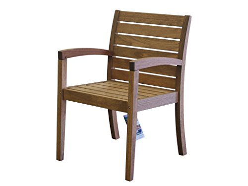 Timbo Vila Rica Hardwood Outdoor Patio Chairs with Arms, Chair, Brown
