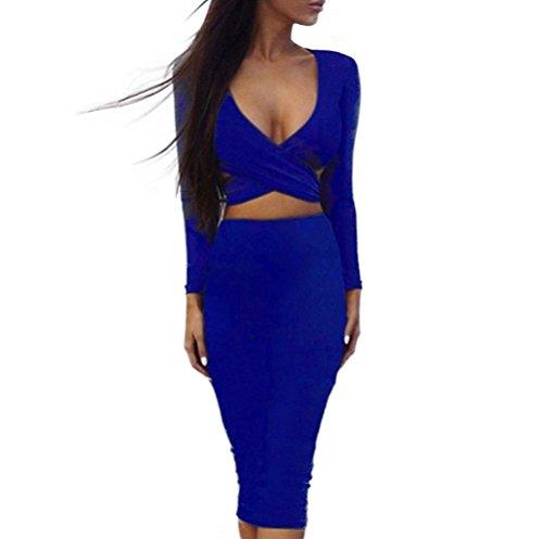 Memorose Womens Sexy Long Sleeve Cut-Out Bandage Bodycon Clubwear Midi Dress Blue S (Teen Sexy Dress)
