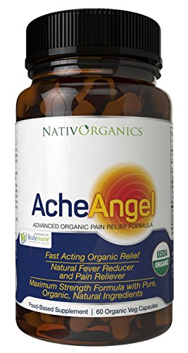 Natural Pain Reliever USDA Organic - 100% Vegan Pain Relief For Headaches, Muscle Aches, Joint Pain, Arthritis – With Aloe Vera + Sea Buckthorn Berry – 60 Caps – Natural Pain Killer - AcheAngel