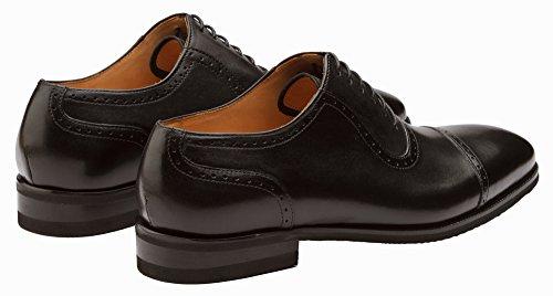 Scarpe Dapper Co. Mens Di Cuoio Genuino Handcrafted Brogue Oxford Scarpe Oxfords Allineate Di Cuoio Di Punta-punta Lace-up Nere