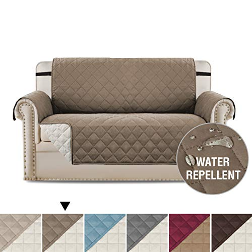 H.VERSAILTEX Loveseat Cover Loveseat Slipcover Reversible Furniture Protector with Elastic Straps, Prevent Stains/Protect from Pets, Spills, Wear and Tear (Love Seat: Taupe/Beige)-75'' x 90''