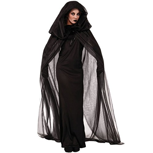 [Quesera Women's Ghost Bride Costume Haunted Black Long Cape Halloween Scary Outfits,Black,Tag size M=US 10] (Scary Outfits)