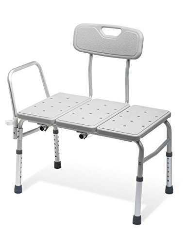 BATHTUB TRANSFER BENCH / BATH CHAIR WITH BACK, WIDE SEAT, ADJUSTABLE SEAT HEIGHT, SURE-GRIPED LEGS, LIGHTWEIGHT, DURABLE
