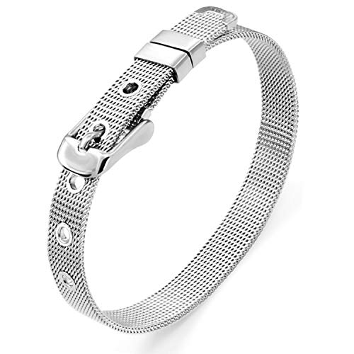 Ginooars 5pcs 8mm Stainless Steel Bracelets for 8mm Slide Charms -DIY Bracelet Making Supplies