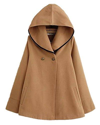 気づくなる自然公園しばしばSanrense_JP ポンチョ風コート フード?ポケット 羽織り 暖か防寒 体型カバー