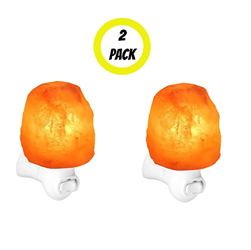 2 Pack Night Light Himalayan Salt Lamp Negative Ion Air Purifier Pink Light Hallway Natural Living Hand Carved Crystalline Shape Health Benefit Ambient Lighting UL Listed Nightlight Himalaya Mountains