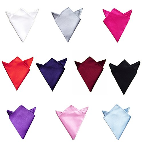 TopTie Wholesale Lot of 10 Mens Solid Color Pocket Squares Handkerchiefs Towel SET2