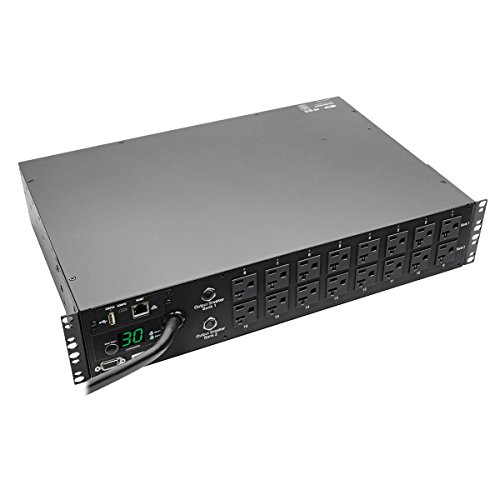 Tripp Lite Switched PDU, 30A, 16 Outlets (5-15/20R), 120V, L5-30P, 10 ft. Cord, 2U Rack-Mount Power, TAA (PDUMH30NET)