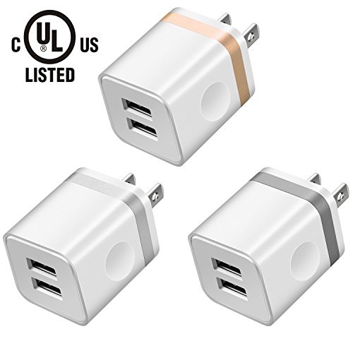 (LEEKOTECH USB Wall Charger, [UL Certified] 3-Pack 2.1A USB Plug Dual Port Power Adapter Charging Block Cube for iPhone X 8 7 6 Plus 4 5S, iPad, Samsung Galaxy S5 S6 S7 Edge, Android Cell Phone)