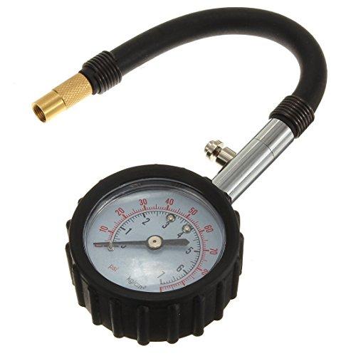 En caoutchouc noir Coated Dial plastique. - TOOGOO(R)INFLATION MANOMeTRE VOITURE MOTO TIRE CAOUTCHOUC CARAVAN 0-7 BAR NOIR high-quality