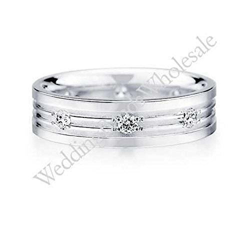 6 Mm Platinum Diamond (950 Platinum 6mm Diamond Wedding Bands Rings 0904 - Size 15.5)