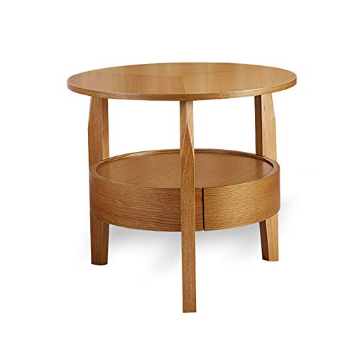 Xiaomei Round Simple Small Apartment Solid Wood Coffee Table Sofa Side Table Economical Small Table (Color : Logs, Size : 50cm)