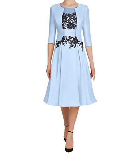 Bolero Damen Festlichkleider Partykleider Blau Knielang Abendkleider Brautmutterkleider 2018 3 Himml Langarm mit 4 Charmant Kurzes wPfUwq