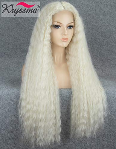 Platinum Braid - K'ryssma Light Blonde Synthetic Lace Front Wig Platinum Blonde Long Wavy Synthetic Wigs Natural Wavy Lace Wigs for Women Heat Resistant 24 inches