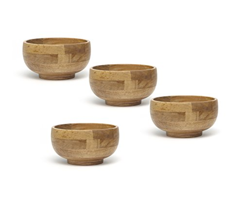Lipper International 323-4 Oak Finished Footed Rice Serving Bowls, Small, 6