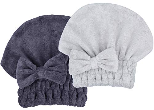 MAYOUTH Microfiber Hair Drying Towels Head wrap with Bow-knot Shower Cap Hair Turban hairWrap Bath Cap For Curly Long & Wet Hair gift for women 2pack
