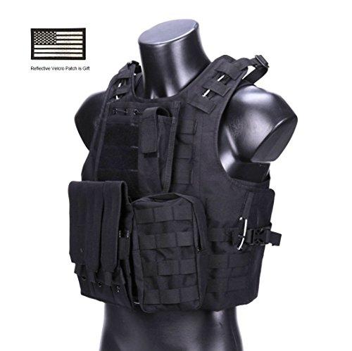 Hannah fit Tactical Molle Airsoft Vest Paintball Combat Soft Vest Black