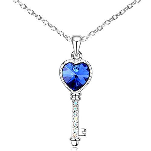 ry Silver tone Heart shaped Key Pendant Necklace Navy blue Swarovski Elements Crystal 18
